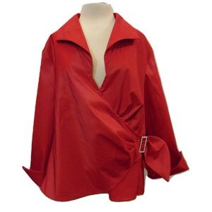 Onyx Nite wrap look evening occasion red top Sz 3X